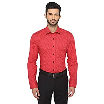 Greenfibre Menu0026#39;s Red Printed Slim Fit Formal Shirt Amazon.in Clothing U0026 Accessories