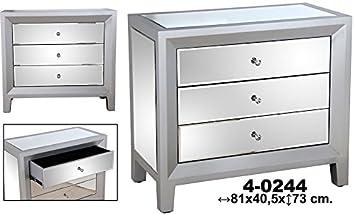 Comoda c/3 cajones madera c/espejos plata