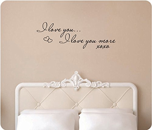"34"" I Love You I Love You More Xoxo Hugs And Kisses Hearts Saying Words Bedroom Wall Decal Sticker Art Mural Home Décor Quote"