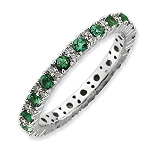 IceCarats Designer Jewelry Size 8 Sterling Silver Stackable Expressions Polished Cr. Emerald Dia Ring.