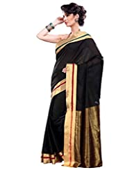 Black Color Cotton Blend Saree By Roop Kashish ( Crystal )
