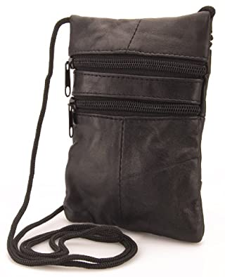 Genuine Soft Leather Neck Passport Holder/Pouch and Purse (Black)