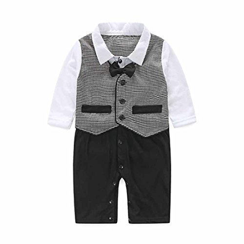 FEITONG Baby Boy's Formal Party Christening Wedding Tuxedo Waistcoat Bow Tie Suit (6 Months)