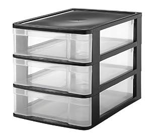 Three Drawer Desktop Storage Chest (Black)