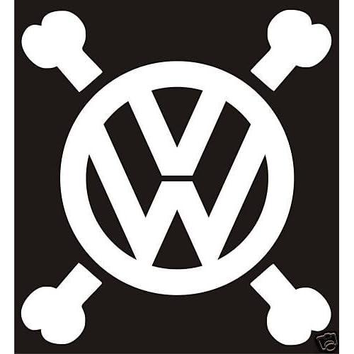 Amazon Com Vw Volkswagen Symbol W Crossbones Vinyl