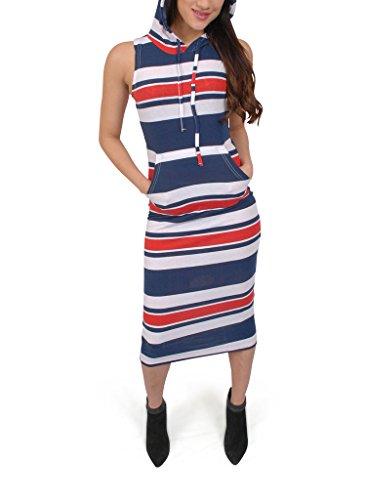 Ladies Sleeveless Hooded Allover Printed Stripe Kangaroo Pocket Dress