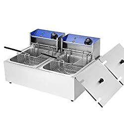 Voilamart 2x 10L Commercial Stainless Steel Electric Deep Fat Fryer Chip Basket Lid Twin Double Tank
