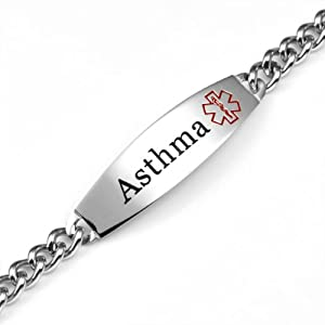 Wide Stainless Steel Asthma Medical ID Bracelet 7 inch from StickyJ