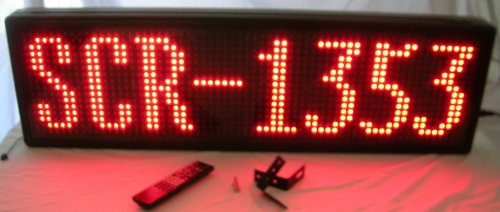 "Scr-1353 - Single Color Red Indoor Prog. Scrolling Sign (Size: 13""H X 53""L X 3 1/2""D)"