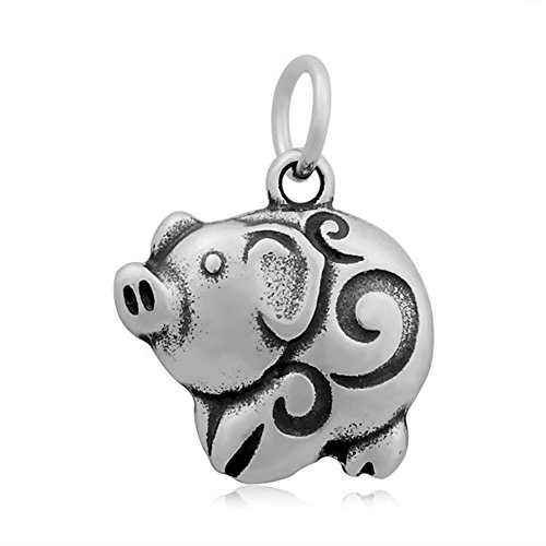 19x25mm Stainless Steel Luck Pig Animal Bracelet Necklace Pendant Charms DIY Jewelry