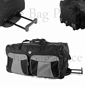 34 Large Blackgrey 2 Wheeled Holdall - Travel Bag Big Suitcase With Wheels