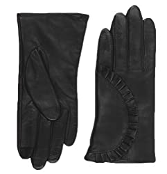 Echo Design Women's Echo Touch Ruffle Leather Gloves, Small, Black