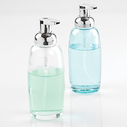 Mdesign glass foaming soap dispenser pump 2pc bathroom for Clear bathroom accessories