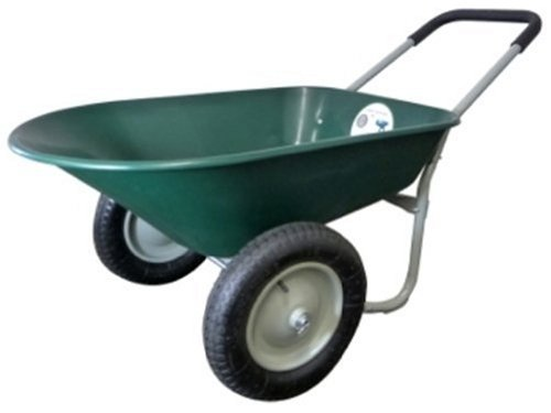 Marathon Industries 70015 5-Cubic Feet Poly Residential Yard Rover Green Wheelbarrow with Dual Pneumatic Air Filled Tires and Cushion Grip Handle
