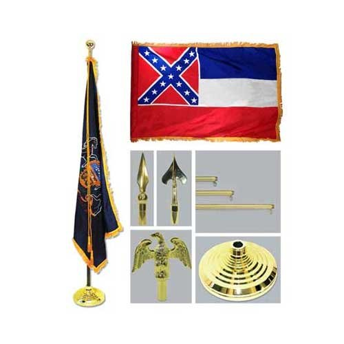 Mississippi 4Ft X 6Ft Flag Telescoping Flagpole Base And Tassel