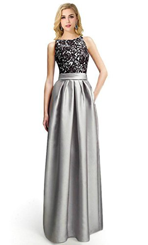 Babyonline Women Sleeveless Bodycon Lace Cocktail Party Prom Evening Dresses, Silver,Silver,4