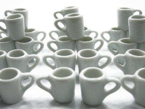 Set 30 Coffee Tea White Funnel Cup Mug Dollhouse Miniature Ceramic Supply Deco Charms - 3862