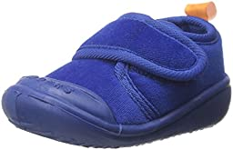 SkidDERS Boys\' Velcro Gripper Slipper, Navy, 12-18 Months M US Infant
