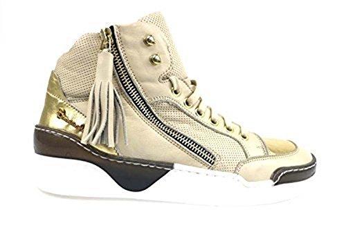 Scarpe donna BRACCIALINI 37 sneakers beige oro pelle AP646-B