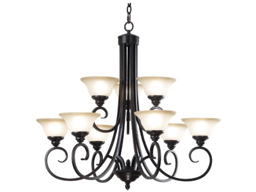 B001MUWETW Kenroy Home 80479ORB Welles Nine-Light Chandelier With 7-Inch Cream Scavo Glass Shades, Oil Rubbed Bronze