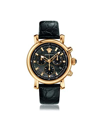 Versace Women's VLB050014 Day Glam Gold-Tone/Black Leather Watch