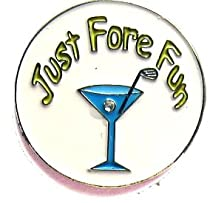 Martini glass Just fore fun golf ball marker, ballmarker with hat clip -Blue Martini