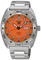 Seiko 5 Sports Orange Dial Stainless Steel Automatic Mens Watch SRP283