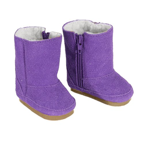 Doll Boots in Purple Suede for American Girl Dolls, Zipper Opening and White Sherpa Fur Lining Purple Doll Boots