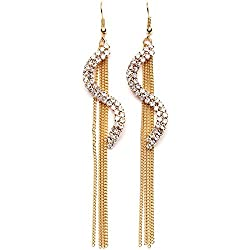 Sorella'z Golden S Shape Dangle Linear Earrings for Women's