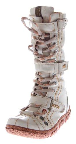 Leder Stiefel TMA Damen Winter Schuhe gefüttert Weiß Damenstiefel Gr. 40
