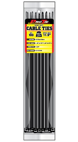 Pro Tie B11HD100 11.9-Inch Heavy Duty Standard Cable Tie, UV Black Nylon, 100-Pack
