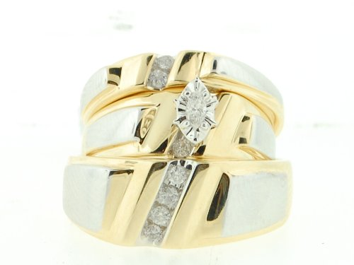 Men's Ladies 14K Yellow Gold .25ct Round Marquise