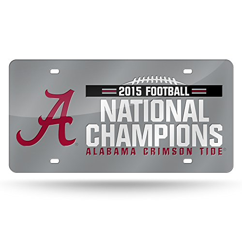 NCAA Alabama Crimson Tide 2015 CFP Champ Laser Auto Tag,12-Inch by 6-Inch,Silver