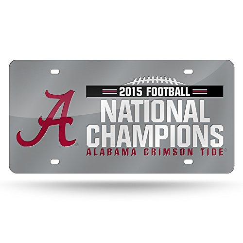 NCAA Alabama Crimson Tide 2015 CFP Champ Laser Auto Tag,12-Inch by 6-Inch,Silver