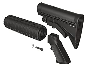 AR 15 M4 QD Enhanced Buttstock, Handguard and A2 Grip furniture Kit by Tactical Intent (Black)