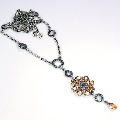 Glamorous Honey Topaz & Sterling Silver Necklace