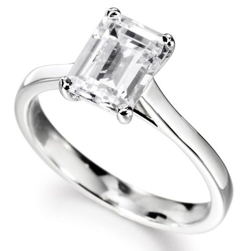 14K White Gold Solitaire Diamond Engagement Ring Emerald Cut (G-H Color Vs2 Clarity 0.41 Ctw)