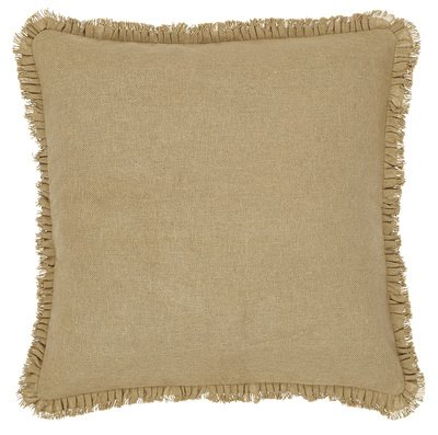 Lowest Prices! Burlap Natural Fabric Euro Sham w/ Fringed Ruffle 26x26""