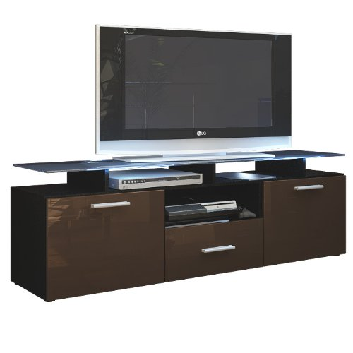 Frunty meuble tv bas armoire basse almada en noir for Meuble tv haut noir