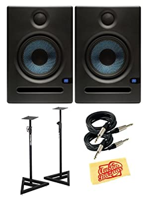 PreSonus Eris E5 70-Watt Nearfield Studio Monitor Bundle with Stands, Two Instrument Cables, and Polishing Cloth - Pair from PreSonus