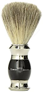 Edwin Jagger Pure Badger Shaving Brush - Imitation Ebony Handle with Nickel Plated Collar and End Cap
