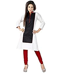 Madhuram Fabric Women's Cotton Kurti (mf==232_black&white_Free Size)