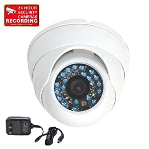 VideoSecu Day Night Vision CCTV Infrared Home Security Camera Color CCD Outdoor Vandal Proof 480TVL 3.6mm Wide View Angle Lens with Free Power Supply CEP