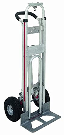 "Magline TPAUA4 3 Position Hand Truck, U Loop Handle, Pneumatic Wheels, 500 lbs Load Capacity, 51"" Height, 21"" Width"