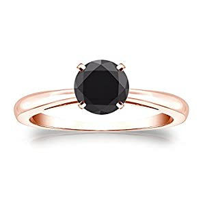 14k Rose Gold Round-cut Black Diamond 4-Prong Solitaire Ring (1 cttw, Black color), Size 7