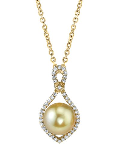 Golden South Sea Pearl & Diamond Ruth Pendant in 14K Gold