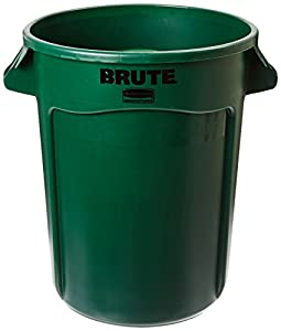 Rubbermaid Commercial FG263200DGRN BRUTE Heavy-Duty Round Waste/Utility Container, 32-gallon, Dark Green