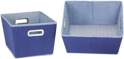 Household Essentials Small Tapered Bins, Navy with Navy and White Gingham, Set of 2 (Household Essentials Bin Blue compare prices)