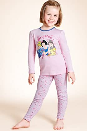 Younger Girls' Pure Cotton Disney Princess Skinny Pyjamas