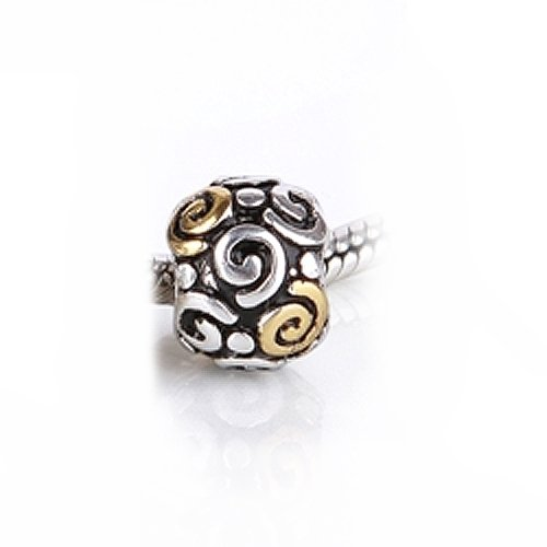 Bling Jewelry Tribal Swirl Gold Vermeil 925 Sterling Silver Charm Bead Pandora Compatible
